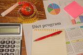 Measure Tape And Fresh Tomato. Healthy Lifestyle Diet With Fresh Fruits. Low-calorie Fruit Diet. Die poster