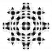 Pixel Black Cogwheel Icon. Vector Halftone Pattern Of Cogwheel Symbol Formed Of Circle Items. poster