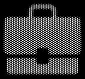 Dot White Case Icon On A Black Background. Vector Halftone Mosaic Of Case Icon Created Of Spheric Po poster