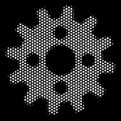 Pixelated White Cogwheel Icon On A Black Background. Vector Halftone Concept Of Cogwheel Pictogram C poster