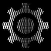 Dot White Cogwheel Icon On A Black Background. Vector Halftone Mosaic Of Cogwheel Symbol Combined Wi poster
