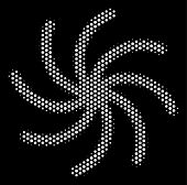 Pixelated White Galaxy Icon On A Black Background. Vector Halftone Pattern Of Galaxy Symbol Composed poster