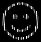 Pixel White Glad Smiley Icon On A Black Background. Vector Halftone Composition Of Glad Smiley Icon  poster