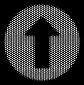 Pixelated White Rounded Arrow Icon On A Black Background. Vector Halftone Composition Of Rounded Arr poster