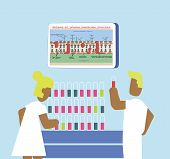 The Doctor And Nurse Are Studying A Blood Test In Test Tubes. The Doctor Is Holding A Test Tube With poster