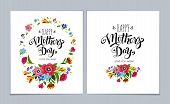 Template Happy Mothers Day Cards On Light Blue Background. Lettering Happy Mothers Day In Flower Fr poster