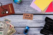 Travel And Vacation Items On Table. Overhead Top View, Flat Lay, Accessories And Essential Travel It poster