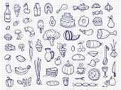 Hand Drawn Food, Vegetables, Drinks, Snacks, Fast Food Doodle Vector Icons. Illustration Of Deliciou poster
