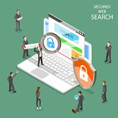Secure Web Search Flat Isometric Vector. People Are Searching Information Through Internet Using Sec poster