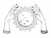 Hand Drawn Full Moon With Rays Of Light In Hands Of Fortune Teller Line Art And Dot Work. Boho Chic poster