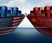 China United States Trade Agreement And American Tariffs As Two Opposing Cargo Ships As An Economic  poster