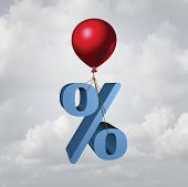 Rising Interest Rates Finance And Inflation Economic Concept As A Percentage Icon Lifted Up By A Fly poster