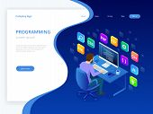 Isometric Developing Programming And Coding Technologies. Website Design. Young Programmer Coding A  poster