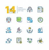Human Resources - Set Of Line Design Style Icons Isolated On White Background. Minimalistic Colorful poster