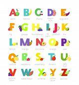 Fruit Alphabet Vector Alphabetical Vegetables Font And Fruity Apple Banana Letter Illustration Alpha poster
