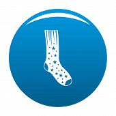 Sock With Star Icon. Simple Illustration Of Sock With Star Vector Icon For Any Design Blue poster