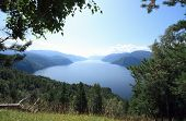 Kind On Lake Teletskoe, Siberia From Mountain Chichilgan.endless Taiga, Mountains And Water poster