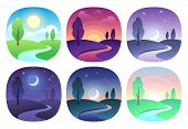 Modern Beautiful Landscape With Gradients. Sunrise, Dawn, Morning, Day, Noon, Sunset, Dusk And Night poster