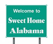 Vector Illustration Of The Welcome To Sweet Home Alabama Green  Road Sign poster