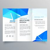Abstract Geometric Blue Shapes Trifold Brochure Template poster