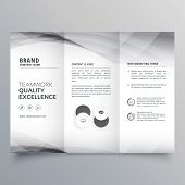 Elegant Gray Trifold Business Brochure Vector Design poster