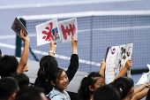 BUKIT JALIL, MALAYSIA- OCT 01: Fans and supporters of Japan's Kei Nishikori show their support in th