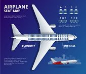 Chart Airplane Seat, Plan, Of Aircraft Passenger. Aircraft Seats Plan Top View. Business And Economy poster