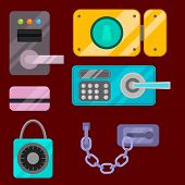 Different House Door Lock Icons Set Vector Safety Password Privacy Element With Key And Padlock, Pro poster