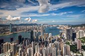 Cityscape Of Hongkong City Skyline From Victoria Peak View Point, Hong Kong City, China poster