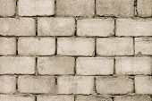 Gray Cinder Cement Block Wall Of Building With Cement Solution. Brick Wall Construction poster