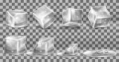 Vector Realistic Set Of Cold Solid Ice Cubes, Melting Process Of Icy Blocks With Drops And Water Pud poster