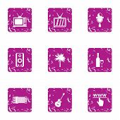 Computer Entertainment Icons Set. Grunge Set Of 9 Computer Entertainment Vector Icons For Web Isolat poster