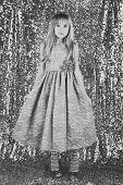 Look, Hairdresser, Makeup. Child Girl In Stylish Glamour Dress, Elegance. Fashion Model On Silver Ba poster