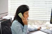 Close-up Of Office Worker Woman Secretary Answering Phone Calls And Talking With Customers, She Is S poster