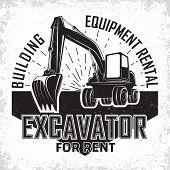 Excavation Work Logo Design, Emblem Of Excavator Or Building Machine Rental Organisation Print Stamp poster