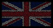 British Flag Concept Combined Of Glad Smiley Design Elements On A Dark Background. Vector Glad Smile poster