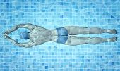 Healthy Lifestyle. Fit Swimmer Training In The Swimming Pool. Professional Male Swimmer Inside Swimm poster