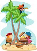 Постер, плакат: Иллюстрация детей одетых как пираты
