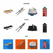 Drawing Accessories, Metropolis, House Model. Architecture Set Collection Icons In Cartoon, Black, F poster