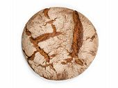 Fresh Round Bread Isolated On White poster