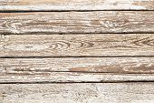Horizontal Closeup Of An Old Wooden Plank Planks With A Worn Layer Of White Paint And Cracks From We poster