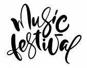 Handdrawn Conceptual Vector Calligraphic Text Music Festival. Lettering Illustration Of Musical Holi poster