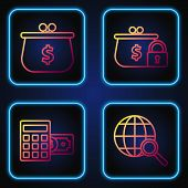 Set Line Magnifying Glass With Globe, Calculator With Dollar Symbol, Wallet With With Dollar Symbol  poster