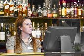 Portrait Of Woman Bartender Registrating New Order By Cash Register. A Restaurant Worker Registratin poster