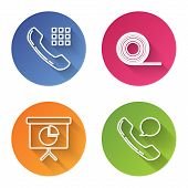 Set Line Telephone Handset, Scotch, Presentation Financial Board With Graph, Schedule, Chart, Diagra poster
