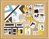 Detective Board. Crime Investigation Concept. Vector Newspaper. Investigation, Evidence Board. Offic poster