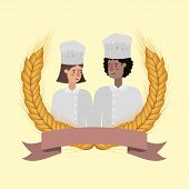 Woman And Man Chef Design, Working Occupation Person Job Corporate Employee And Service Theme Vector poster