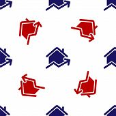 Blue And Red Rising Cost Of Housing Icon Isolated Seamless Pattern On White Background. Rising Price poster