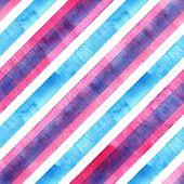 Watercolor Blue Pink Diagonal Stripes On White Background. Striped Seamless Pattern. Watercolour Han poster