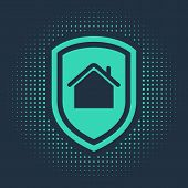 Green House Under Protection Icon Isolated On Blue Background. Home And Shield. Protection, Safety,  poster